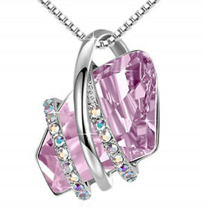 Fashion Silver Plated Pink Crystal White Zircon Necklace Birthday Jewelry Gift