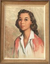 Original Pastel Portrait Of Young Woman By Renown Artist Gus Velletri 1959