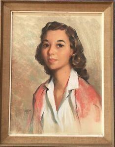 Original Pastel Portrait Of Young Woman By Renown Artist Gus Velletri 1959