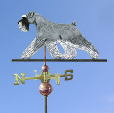 Schnauzer Uncropped Hand Carved Hand Painted Basswood Dog Weathervane Salt/Pe.