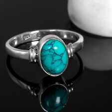 Gorgeous Oval TURQUOISE 925 Sterling Silver Gemstone Ring RRP £36.99 Gift Boxed