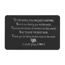 """Anodized Aluminum Black Engrave Mother """"I Love You Mom"""" Metal Wallet Insert Card"""