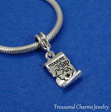 Silver 3D Treasure Map Dangle Bead Charm - fits European Bracelets NEW