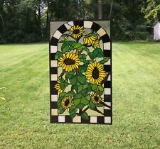 "20.75"" x 35"" Large Tiffany Style stained glass window panel Sunflower Garden"