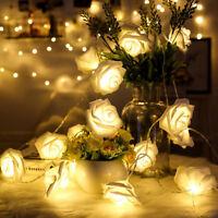 20 Led Rose Flower Fairy Light Wedding Party String Battery Room Garden Romantic