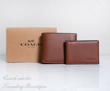 NWT Coach F74991 Men's Compact ID Sport Calf Leather Wallet in Saddle