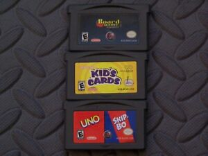 Lot Nintendo Game Boy Advance GBA Games Board Games Kid's Cards + Uno / Skip-Bo