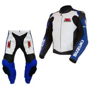 SUZUKI GSXR Motorcycle Biker Leather Suit Racing Motorbike Leather Jacket Pant