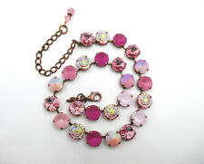 """Pink Crystal Necklace, """"Regal Raspberry,"""" 12mm Rose Crystal Necklace"""