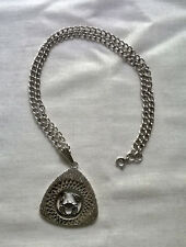 """Vintage 1980s Solid Silver 925 Zodiac Star Sign Engraved Pendant, Chain 16"""""""