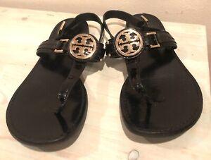 Tory Burch Cassia T Strap Black Flat Thong Slingback Sandals 8.5 M