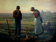 L'Angélus d'aprés JF MILLET peinture huile signé TALLEC paysans 55x47cm