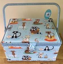 SEWING BOX BASKET Medium Size /'LEOPARD/' DESIGN QUALITY