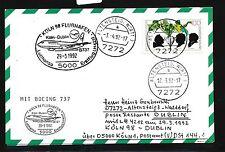 78464) LH FF Köln - Dublin Irland 29.3.92, Karte FDC 1599 Zucker
