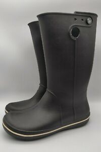 Crocs Tall Rubber Pull On Rain Boots Size 8 Black