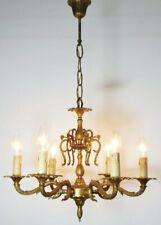 Opulent Vintage French 6 Light Chandelier in Bronze