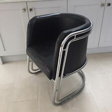 Retro Industrial 1930s Deco Bauhaus Style Chromed Steel & Leather Chair