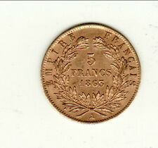 NAPOLEON III  TETE LAUREE 5 FRANCS OR /GOLD 1863 A SPL cote 580 euro  état RARE