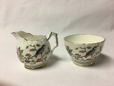 Aynsley Bone China Floral Design w/King Fisher Bird Creamer And Sugar Bowl