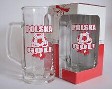 "HANDLED BEER TANKARD MUG ""POLSKA GOL"" FOOTBALL FAN 1 PINT 570ml FUNNY PUB GLASS"