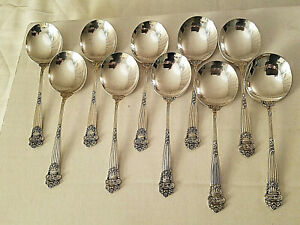 "10 Antique Towle Georgian Sterling 5 1/4"" Bouillon Soup Spoons Decorated Backs"