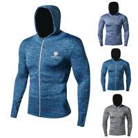 Men's Athletic Hoodie Hooded Fitness Gym Full Zip Up Top Thumbhole  Long Sleeve