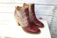 J Shoes Brown Leather Suede Zipper Heel Ankle 9 Women's Boots