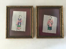 Pair Miniature Chinese Lady Figure Paintings On Rice Paper Framed.       #816