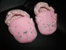 Baby Girls Pink Embroidered Cat faced Soft Slippers Age 3-6 Months
