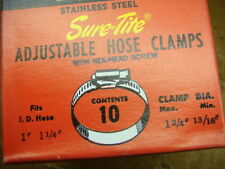 """10 SURE-TITE STAINLESS STEEL HOSE CLAMPS 13/16"""" TO 1-3/4"""" MADE IN USA"""