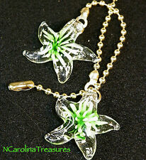 ART GLASS CEILING FAN CHAIN LIGHT SWITCH PULL STAR STARFISH GREEN BURST SM PAIR