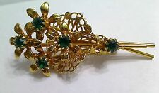 Vintage Goldtone Filigree Emerald Green Rhinestone Flower Boquet Brooch