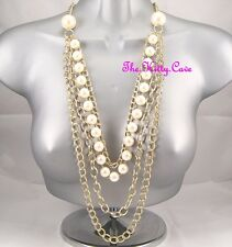 Classic Celebrity Shabby Chic 4 Strand Multi Chain Long Gold Boho Pearl Necklace