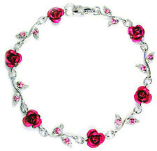 w Swarovski Crystal Hot Pink ROSE FLOWER Floral Bridal Wedding Bracelet Xmas New