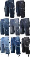 Crosshatch Mens Designer Cargo Knee Length Regular Fit Denim Jean Shorts