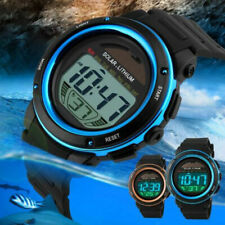 Fashion Mens Waterproof Solar Powered Chrono EL Light Digital Sport Wrist Watch