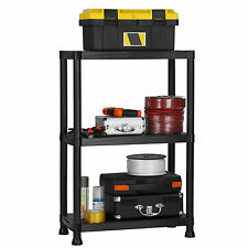 VonHaus 3 Tier Plastic Garage Shelving Racking Storage Black