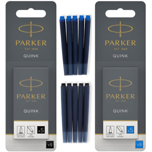GENUINE PARKER Fountain Pen Refill Ink Cartridges Quink Replacement BLACK & BLUE