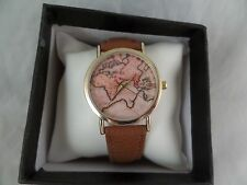 NIB Next Stop The Time Zone WristWatch NEW Brown Leather Band Womens GREAT DEAL