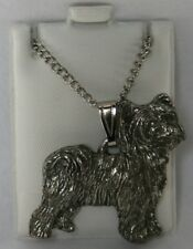 Chinese Crested Powder Puff Harris Fine Pewter Pendant w Chain Necklace Usa Made