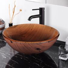 New listing Bathroom Tempered Glass Round Vessel Sink Wood Grain Vanity Hotel Bowl Basin