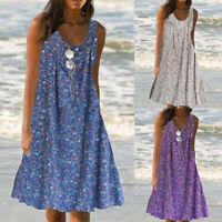 Plus Size Women Floral Mini Dress Ladies Summer Swing Tunic Dress Holiday Beach
