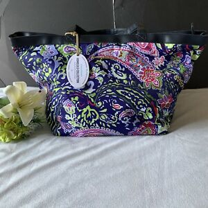 tommy bahama  honolulu  collection large colorful paisley print travel tote