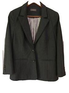 Jacqui E size 12 Dark Grey Tailored  Blazer 2 button close. fully lined. Jacket