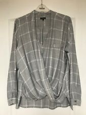 """""""River Island"""" Grey Check Wrap Style Top, Size 14, Adjustable Sleeve length"""