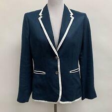 Brooks Brothers Stellita Fit Blazer Jacket Sz 8 Navy Blue White Trim 100% Linen