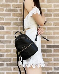 Kate Spade Karina Mini Convertible Leather Backpack Crossbody Shoulder Bag Black