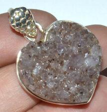 Amethyst Druzy 925 Sterling Silver Pendant Jewelry JJ3190