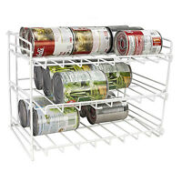 Home Basics Steel 3 Tier Can Shelf Cabinet Organizer Holder White