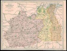 More details for 1850 original antique map of surrey showing roman roads places of interest (1)